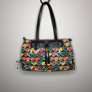 Dooney and Burke Hearts multi colored tote bag